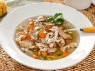 Обикновена бяла / бистра пилешка супа с ориз